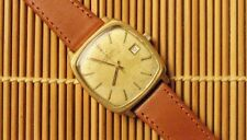 ORIGINAL ETERNAMATIC 2002 GOLD DATE WATCH UNUSUAL ANTIQUE PARCHMENT DIAL & BOX