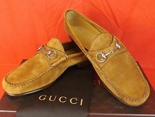 NIB GUCCI CUIR SUEDE CACHEMIRE SILVER HORSEBIT LOAFERS 8 9  #367926 $795 ITALY