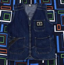 Paco Jeans Denim Vest Jacket XL Blue Black Mens Sports Patch Urban Retro World