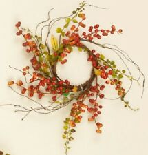 BITTERSWEET BERRIES BABY GRASS CANDLE RING WREATH Twig Floral Vine Country