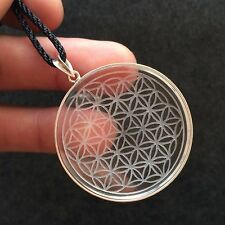 42mm Flower of Life Clear Natural Quartz Crystal Silver Pendant Healing 1243