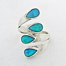 Sterling Silver Blue Opal Ladies Ring Size 7.5   Native American Made --- R15 H