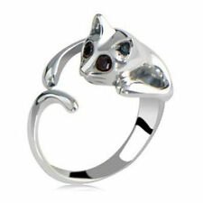 Fashion New Lovely Silver Plated Kitten Cute Cat Animal Crystal eyes Ring