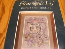 """EPX2004 Fleur de Lis Cross Stitch 2001 At Home in the Garden Tiger 16""""x11"""""""