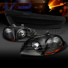 For 96-98 Honda Civic JDM Crystal Black Projector Headlights+JDM ABS Hood Grille