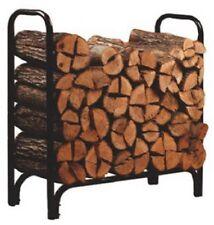 4' Black Steel Deluxe Outdoor Firewood Log Rack - NIB