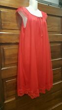 Vintage red sheer nylon Miss Elaine nightgown babydoll and robe M