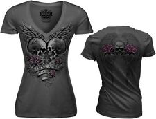 WOMENSMOTORCYCLE V NECK LETHAL ANGEL WINGS SKULL  GRAY T SHIRT MEDIUM M