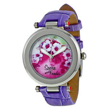 Sophie and Freda Versailles Custom Painted Porcelain Dial Lavender Leather