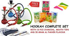 Hookah Pumpkin 1 Hose Shisha Nargila Pipe Bong Glass Bowl Set Coal Tips Flavour