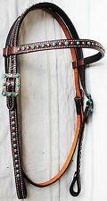 Horse Show Bridle Western Leather Headstall Tack Bling Turquoise 7940H