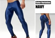 Mens Medium Metallic Blue Compression Running Tights Training Activewear Gay UK