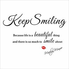 Marilyn Monroe Keep Smiling Words Wall Stickers Decals Home Decor Red Lip
