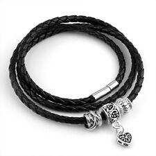 New Fashion Men's Boy Black Charm Leather Bracelet Cuff Bangle Jewelry Wristband