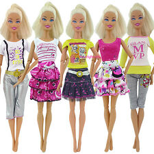 5x Fashion Lady Outfit Top Shirt Skirt Pant Daily Clothes For Barbie Doll Hot U