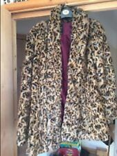 gorgeous Leopard  river island parka fur leather jacket coat size 8/10