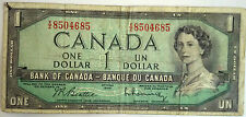Canada 1954 $1 Dollar Bank Note (Beattie Rasminsky) One Dollar Bill #2