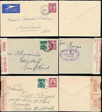 SOUTH WEST AFRICA 1938-42 STATIONERY ENVELOPES SHIP OPT AIR + CENSORED...3 ITEMS