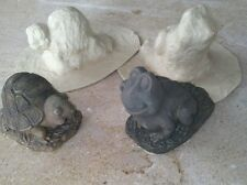 2 CONCRETE PLASTER MOLDS LATEX ONLY turtle and frog pair set