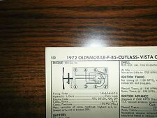 1972 Oldsmobile Models 350 CI V8 4BBL SUN Tune Up Chart Excellent Condition!
