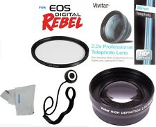 58MM 2.2X TELEPHOTO ZOOM LENS +UV FILTER KIT FOR CANON REBEL EOS SL1 T3 T3I T4