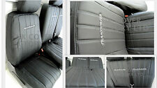 VW TRANSPORTER T4 Van Seat Covers Vertical Binary Quilt PVC Leather - X121BK-GY