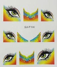 Nail art stickers bijoux d'ongles: 10 décalcomanies oeil de biche fond coloré