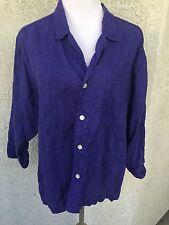 CHICO'S CHICOS DESIGN Size 2 M L Blouse Top Linen Purple 3/4 Sleeve Button