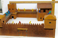 1961 FAO Schwartz Wooden Play Toy Set Wild Frontier Fort Western Cowboys Indians