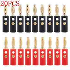 20PCS 4mm Gold Plated Audio Speaker Wire Cable Banana Plug Connector Adapter TR