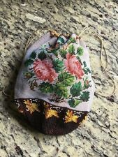 Stunning Original Antique Victorian Micro Beaded Drawstring Evening Bag
