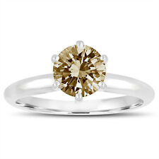 Fancy Champagne Brown Diamond Solitaire Engagement Ring 1.00 Ct 14K White Gold