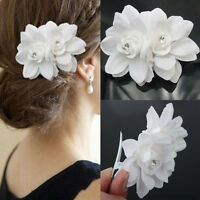 Bridal Bridesmaid White Orchid Flower Hair Clip Barrette Sandy Beach Wedding 1X