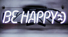 "Be happy HOME LAMP Bar LED Beer NASCAR Music Logo POSTER NEON LIGHT SIGN 14""X4"""