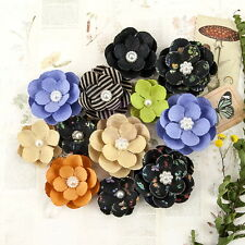 HYBRID - FOREVER GREEN - Paper Mixed PRIMA 12 Flower Pack Approx 30-45mm Ea