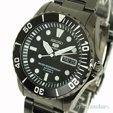 SEIKO 5 SPORTS MENS AUTOMATIC DIVERS ION BLACK & BLACK FACE SNZF21J1