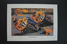 Rare SMOKIN JOE official motorcycle racing ART MIGUEL DUHAMEL Honda superbike F1
