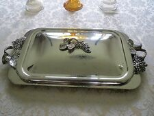 Godinger Silver Plated 3D Grape & Leaf Casserole Covered Lid & Handle Dish Tray