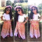 Children Baby Girls Top T-Shirt+Skirt Flower 2pcs Outfits Set Dress Kids Clothes