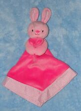 Prestige Pink Bunny Rabbit Baby Security Blanket Gingham Check Trim