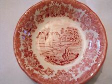 """Royal Worcester Palissy Avon Scenes Pink Red 51/4"""" Bowl"""
