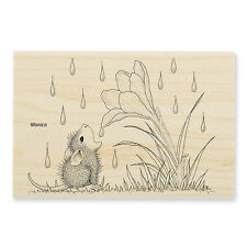 HOUSE MOUSE Flower Rain Crocus Wood Mounted Rubber Stamp Stampendous HMP64 NEW