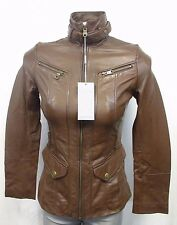 Andrew Marc NY Brown Women XS Funnel-Collar Leather Jacket MSRP $495 H222