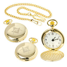 Stunning Brand New Masonic Quartz Full Hunter Pocket Watch at Reduced Price