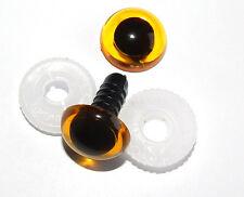 3 Paar Sicherheitsaugen honig - gelb mit Pupille 12 mm Kunststoff TOP - Qualität