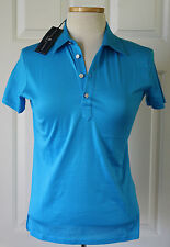 $90 NWT Womens Ralph Lauren Classic Golf Fit Cotton Polo Shirt Aqua Blue S