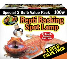 Zoo Med Reptile Basking Spot Lamp 100 Watts 2 Bulb Value Pack, New