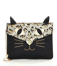 """NWT Betsey Johnson Black Sequin """"Kitchi Cat Clutch"""" Crossbody COLLECTABLE!!"""