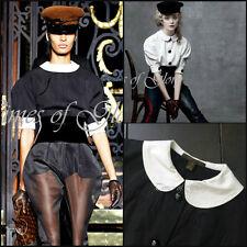 RARE Louis Vuitton Noir Blanc Peter Pan Col Chemisier Taille FR34 XS US2 4