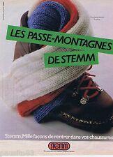 PUBLICITE ADVERTISING 095 1981 Stemm chaussettes le passe-montagne